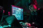 Hackers making cryptocurrency fraud using virus software and computer interface. Blockchain cyberatt poster