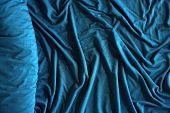 Roll Of Elegant Sea Color Textile. Textile Folds Background. poster