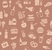 Food, Seamless Pattern, Brown, Color, Grocery Store, Vector. Food And Drinks, Production And Sale. V poster