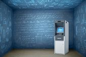 3d Rendering Of Atm In Empty Room With Walls And Ceiling All Covered In Math Formulae. poster