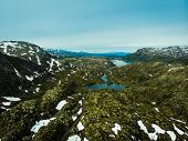 Aerial View. Norway Landscape. Road And Lakes In Stony Rocks Mountains. Norwegian National Tourist S poster