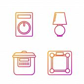 Set Line Bathroom Scales , Slow Cooker , Remote Control And Table Lamp . Gradient Color Icons. Vecto poster