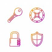 Set Line Shield , Safe Combination Lock , Key And Safe . Gradient Color Icons. Vector poster