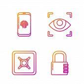 Set Line Safe Combination Lock , Safe , Smartphone With Fingerprint Scanner And Eye Scan . Gradient  poster