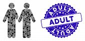 Mosaic Adult Friends Icon And Grunge Stamp Seal With Adult Caption. Mosaic Vector Is Composed With A poster