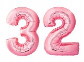 Number 32 Thirty Two Made Of Rose Gold Inflatable Balloons Isolated On White Background. Pink Helium poster