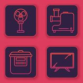 Set Line Electric Fan , Slow Cooker , Kitchen Meat Grinder And Smart Tv . Blue Square Button. Vector poster