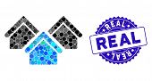 Mosaic Real Estate Icon And Distressed Stamp Watermark With Real Text. Mosaic Vector Is Formed With  poster