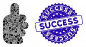 Collage Success Gesture Icon And Rubber Stamp Seal With Success Text. Mosaic Vector Is Formed With S poster