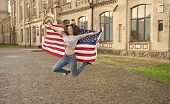 Patriotic Citizen. Vacation And Travel. Independence Day. National Holiday. Girl Cheerful Jumping. 4 poster