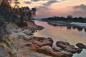 Evening Photo Of Luangwa River, South Luangwa National Park Border. Hdr Photo. poster