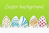 Easter Paper Cut. Colorful Easter Eggs With Papercut Pattern, Greeting Card Template, Celebration Ev poster