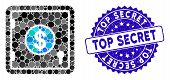 Mosaic Dollar Banking Safe Icon And Rubber Stamp Watermark With Top Secret Text. Mosaic Vector Is De poster