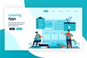 Illustration Of Landing Page For Learning Apps. Education Process Of Learning Knowledge, Skills, Val poster