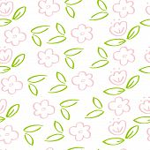 Hand Drawn Illustration. Seamless Pattern With Pink Flowers For Background, Fabric, Wrapping Paper. poster