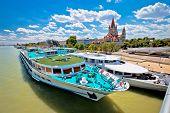 Vienna. Franz Von Assisi Church And River Cruiser On Danube River In Vienna View, Capital Of Austria poster