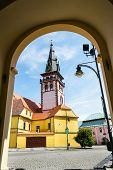 Sightseeing Tower Of The Late Gothic Decanal Church Of The Assumption Of The Virgin Mary In Chomutov poster