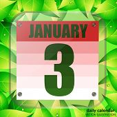 January 3 Icon. Calendar Date For Planning Important Day With Green Leaves. Third Of January. Banner poster