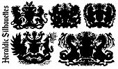 Design Set With Heraldic Element Silhouettes Isolated On White. Hand Drawn Engraved Illustration Wit poster