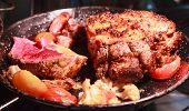 Medium Rare Barbecue Grill Roasted Beef Meat Basting With Seasoned Sauce, Ready For Serving Healthy  poster