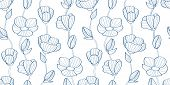 Floral Seamless Pattern Of Flax Plant With Flowers And Buds. Linear Flowers. Classic Blue. For Texti poster