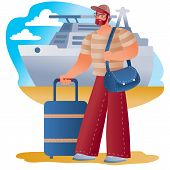 Man Carries A Suitcase And Carries A Bag On His Shoulder, About To Go On A Trip Or A Business Trip,  poster