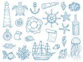Nautical Collection. Sailing Boats Hand Drawn Marine Set Fishes Vessel Vector Set. Ship Marine, Sea  poster