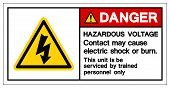 Danger Hazardous Voltage Contact May Cause Electric Shock Or Burn Symbol Sign, Vector Illustration,  poster