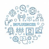 Influencer Vector Round Concept Simple Illustration In Thin Line Style poster