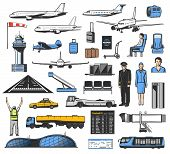 Airport And Airplane Icons, Aviation Vector Design. Planes, Passenger And Flight Ticket, Luggage, Pa poster