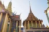 Picture Of Beautiful Buddhist Church Inside Wat Phra Kaew, Temple Of The Emerald Buddha Is One Of Th poster
