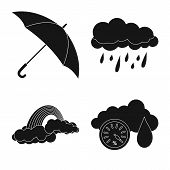 Vector Illustration Of Weather And Climate Sign. Set Of Weather And Cloud Vector Icon For Stock. poster