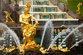 foto of samson  - Famous Samson and the Lion fountain in Peterhof Grand Cascade - JPG