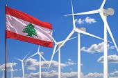 Lebanon Alternative Energy, Wind Energy Industrial Concept With Windmills And Flag - Alternative Ren poster