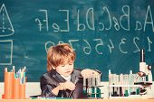 Educational Experiment. Happy Childhood. Boy Near Microscope And Test Tubes School Classroom. Knowle poster