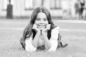 Dreaming Of Future. Happy Girl Relax On Green Grass. Small Child With Cute Smile. Future Generation. poster