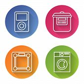 Set Line Music Player , Slow Cooker , Bathroom Scales And Washer . Color Circle Button. Vector poster