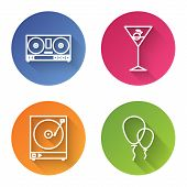 Set Line Dj Remote For Playing And Mixing Music , Martini Glass , Vinyl Player With A Vinyl Disk And poster