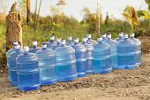 stock photo of water shortage  - fresh water supplies in tropical dry country - JPG