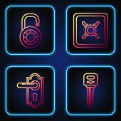 Set Line Key , Door Handle , Safe Combination Lock Wheel And Safe . Gradient Color Icons. Vector poster