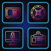 Set Line Identification Badge, Lock On Computer Monitor Screen, Safe And Safe . Gradient Color Icons poster