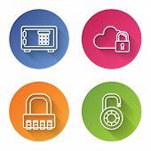 Set Line Safe , Cloud Computing Lock , Safe Combination Lock And Safe Combination Lock Wheel . Color poster