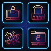 Set Line Ftp Folder And Lock , Eye Scan , Laptop And Lock And Safe Combination Lock . Gradient Color poster