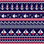 Neutical Scottish Fair Isle Style Traditional Knitwear Vector Seamless Pattern, Sailing Design With  poster