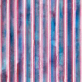 Watercolor Colorful Stripes On White Background. Blue White And Pink Striped Seamless Pattern. Water poster