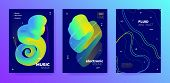 Modern Music Poster. Gradient Lines. Trance Festival. Trendy 3d Flow Movement. Vivid Music Banner. G poster