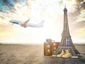 Flight to Paris, France.Vintage suiitcase with symbols of France Eiffel tower. Travel and tourism co poster
