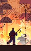 Brave Firefighter Holding Scrap Extinguishing Dangerous Wildfire Fireman Fighting With Bush Fire Fir poster