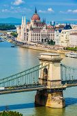 View Of Budapest With Hungarian Parliament Building On The Bank Of The Danube And Chain Bridge poster