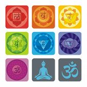 foto of sanskrit  - Spiritual set with chakras and yoga icons - JPG